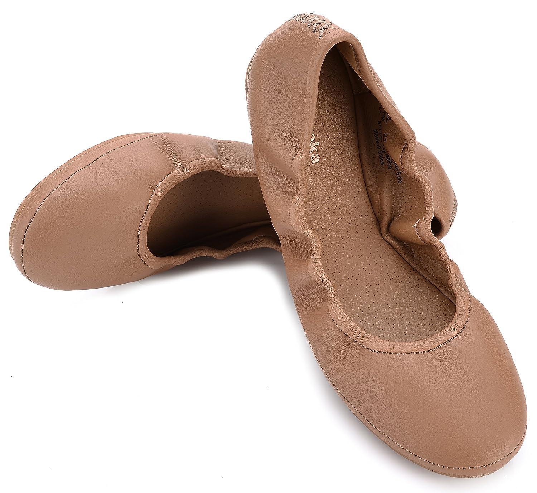 Eureka USA Women's Audrey Leather Ballet Flat B074V24VSQ 9 B(M) US|013 Sun Tan