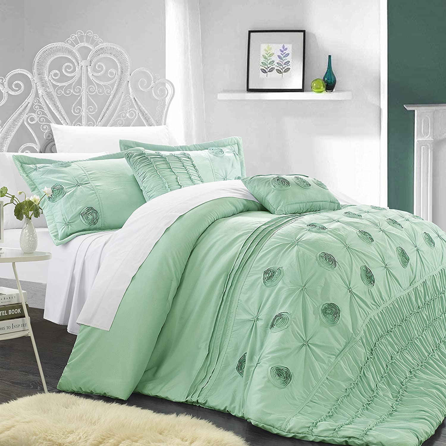 Chic Home 5-Piece Florentina Floral Pleated Comforter Set, Aqua, Queen