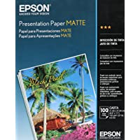 Epson S041062 Matte Presentation Paper, 27 lbs., Matte, 8-1/2 x 11 (Pack of 100 Sheets)
