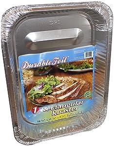 "Durable Foil Rectangular Aluminum Roasting Pan, X-Large, 16 5/8"" x 11 7/8"" x 2 ½"" (Pack of 12)"