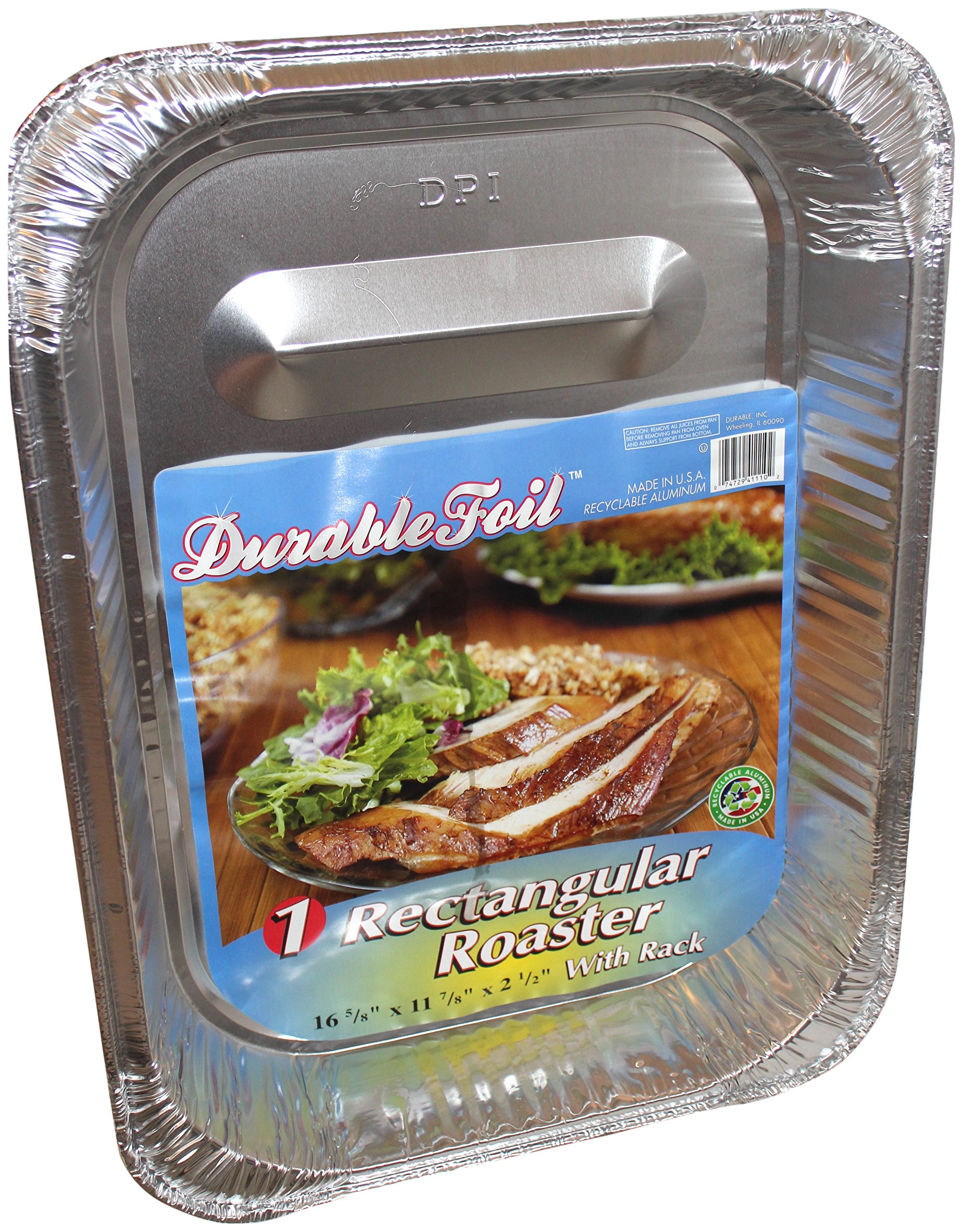 Durable Foil Rectangular Aluminum Roasting Pan, X-Large, 16 5/8'' x 11 7/8'' x 2 ½'' (Pack of 12)