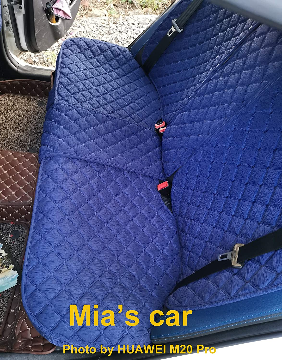 INCH EMPIRE Anti Slip Car Seat Cover Full Set Breathable Sweat Proof Fabric Polyester Cloth Universal Fit Front and Back Cushion-Adjustable Bench Purple with Stich Grid