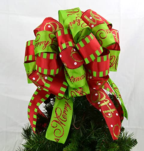 Christmas Tree Bows Red.Present Bow Christmas Tree Bow Christmas Tree Topper Red Lime Green Bold