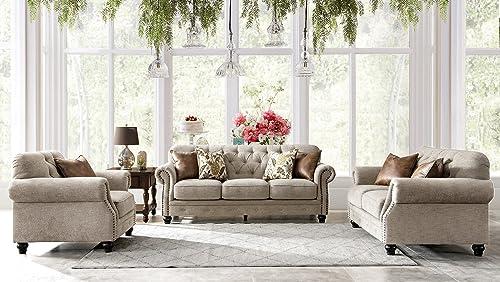 Acanva Living Room Set Sofa, 3 Piece, Almond