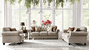 Acanva Chesterfield Chenille Living Room Set Sofa, 3 Piece, Almond