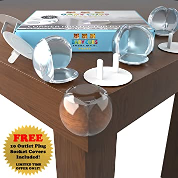 Baby Proofing Corner Protectors Clear Furniture Bumpers 8 Pack Includes 10  FREE Outlet Plug Covers!