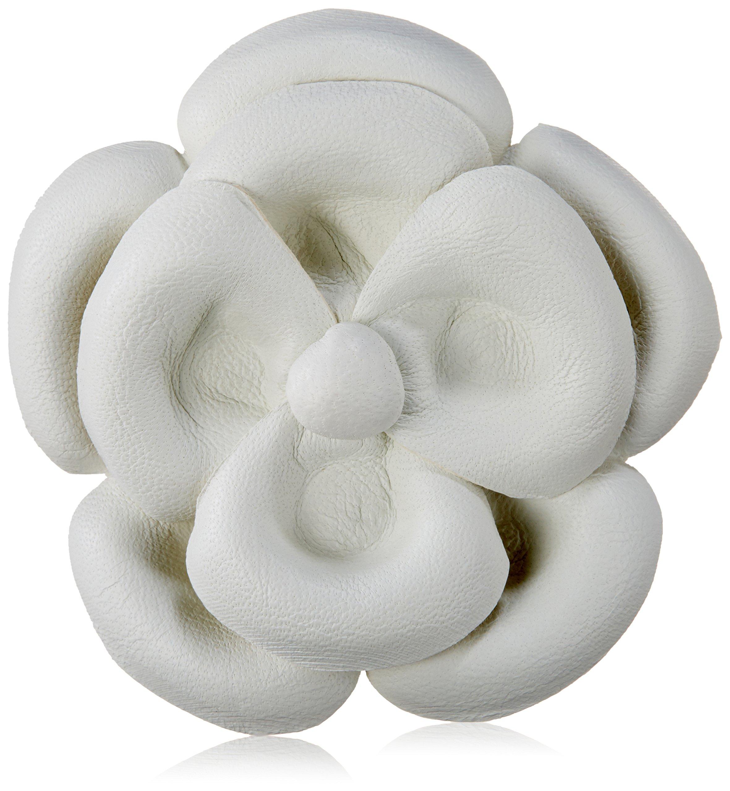 Emi Jay Leather Camellia Barrette, White