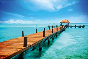 GREAT ART Poster – Tropical Footbridge – Picture Decoration Beach Paradise Caribbean Landscape Bridge into Ocean Tropical Island Image Photo Decor Wall Mural (55x39.4in - 140x100cm)