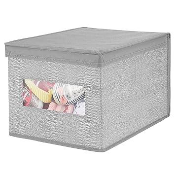 mDesign Caja con tapa apilable para armario, dormitorio y más – Organizador de armario de