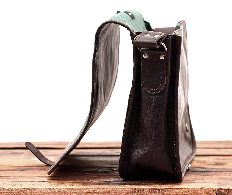 M PAUL MARIUS LE MESSAGER INDUS Marr/ón Oscuro bolso de cuero del mensajero apropiado para A4 tama/ño