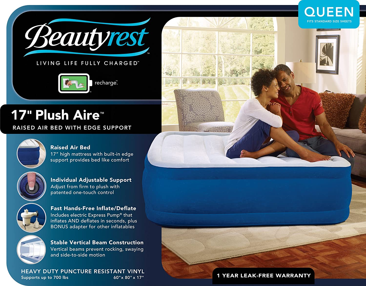 Amazon.com: Simmons Beautyrest Plush Aire Inflatable Air Mattress: Raised-Profile  Air Bed with External Pump, Queen: Home & Kitchen