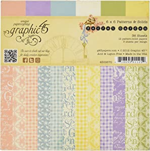 Graphic 45 Secret Garden Patterns and Solid Paper Pad, 6 by 6-Inch
