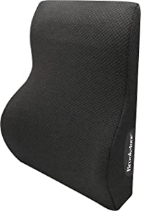 Brookstone BK1216 - Luxurious Back Support Pillow for Chair/Car, Back Cushion with Premium Grade Memory Foam, Breathable and Washable Cover