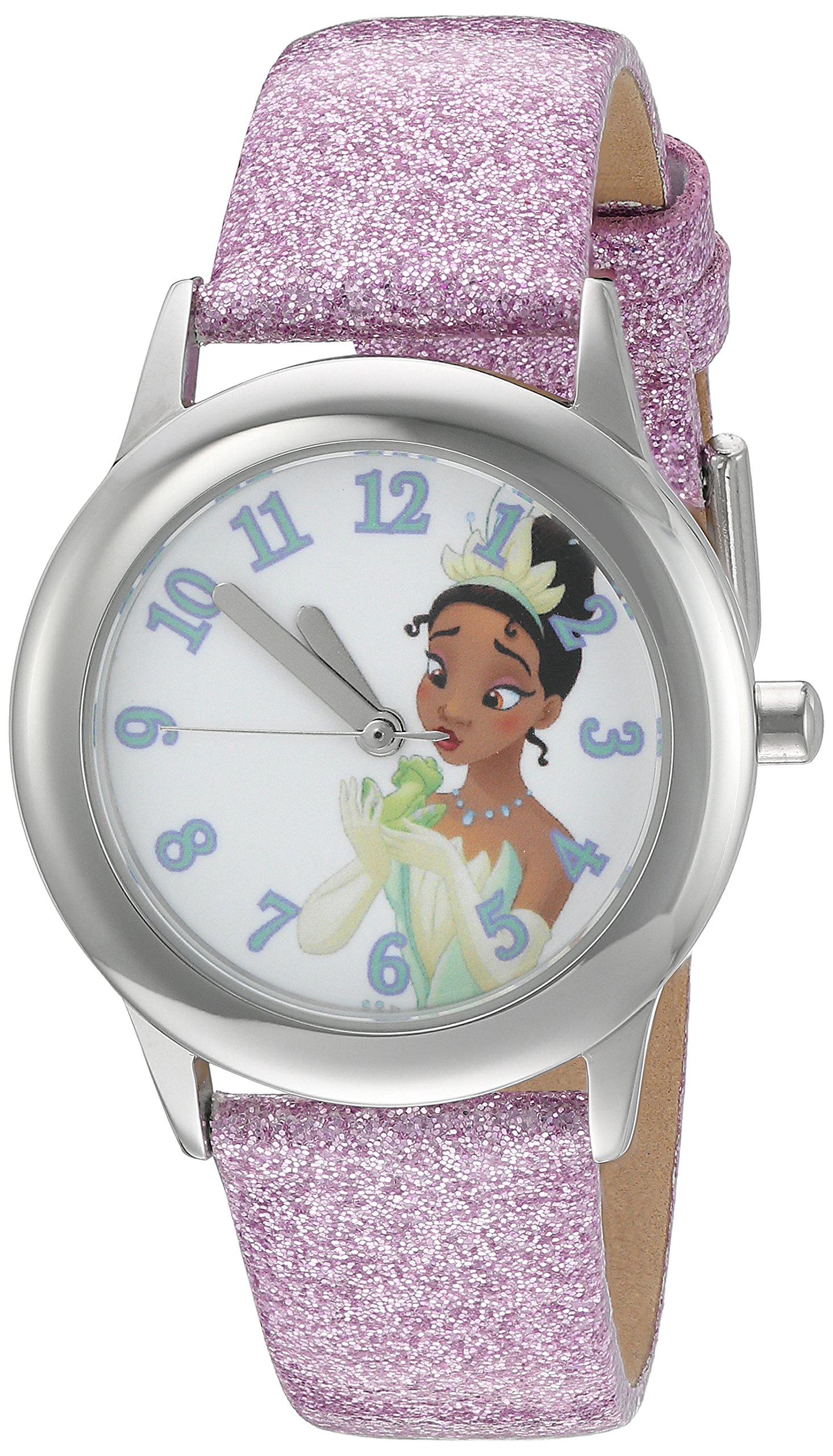 Disney Girl's 'Tiana' Quartz Stainless Steel and Leather Watch, Color:Purple (Model: W002979)
