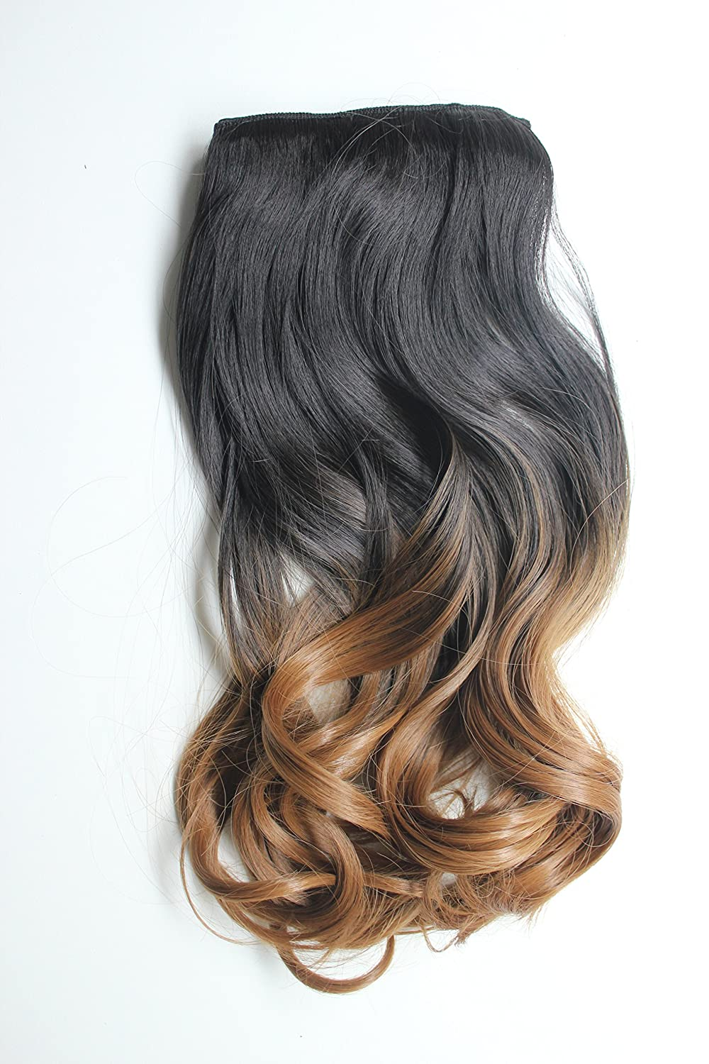 17 one piece full head clip in hair extensions ombre wavy curly (Light brown to sandy blonde) Jimmystar