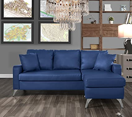 Amazon.com: DIVANO ROMA FURNITURE Bonded Leather Sectional ...
