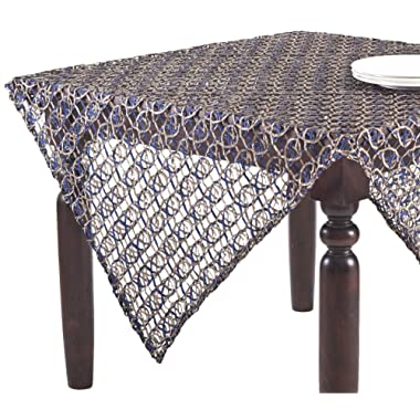 SARO LIFESTYLE 8013 1-Piece Morgaine Toppers Square Tablecloth, 60-Inch, Cobalt Blue