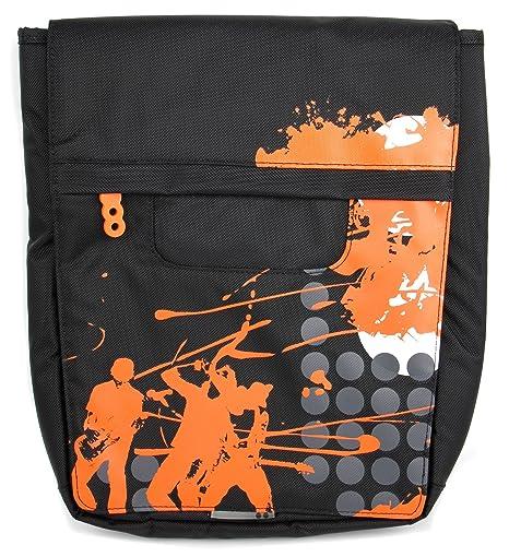 DURAGADGET Bolso Negro con Print En Color Naranja para Ordenador portátil ASUS P2520SA | P2520LA |