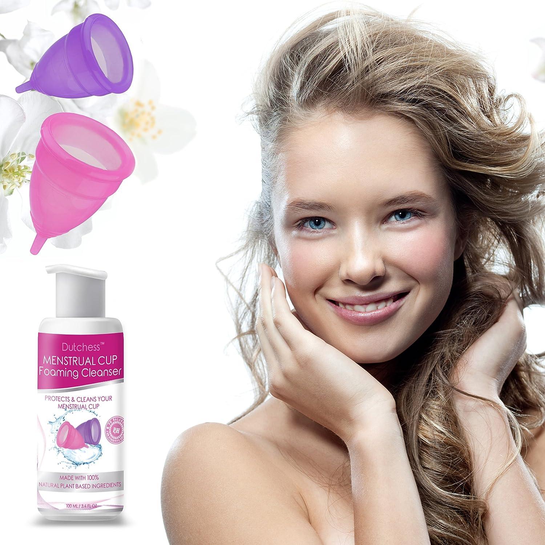 Dutchess - Limpiador con espuma de la copa menstrual, multiuso femenino, apto para todo tipo de piel, ingredientes a base de plantas de origen ...