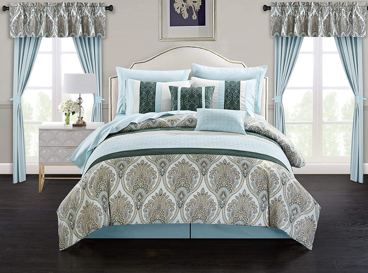 Chic Home Vivaldi 20 Piece Comforter Set Medallion Quilted Embroidered Design Complete Bag Bedding, King, Green