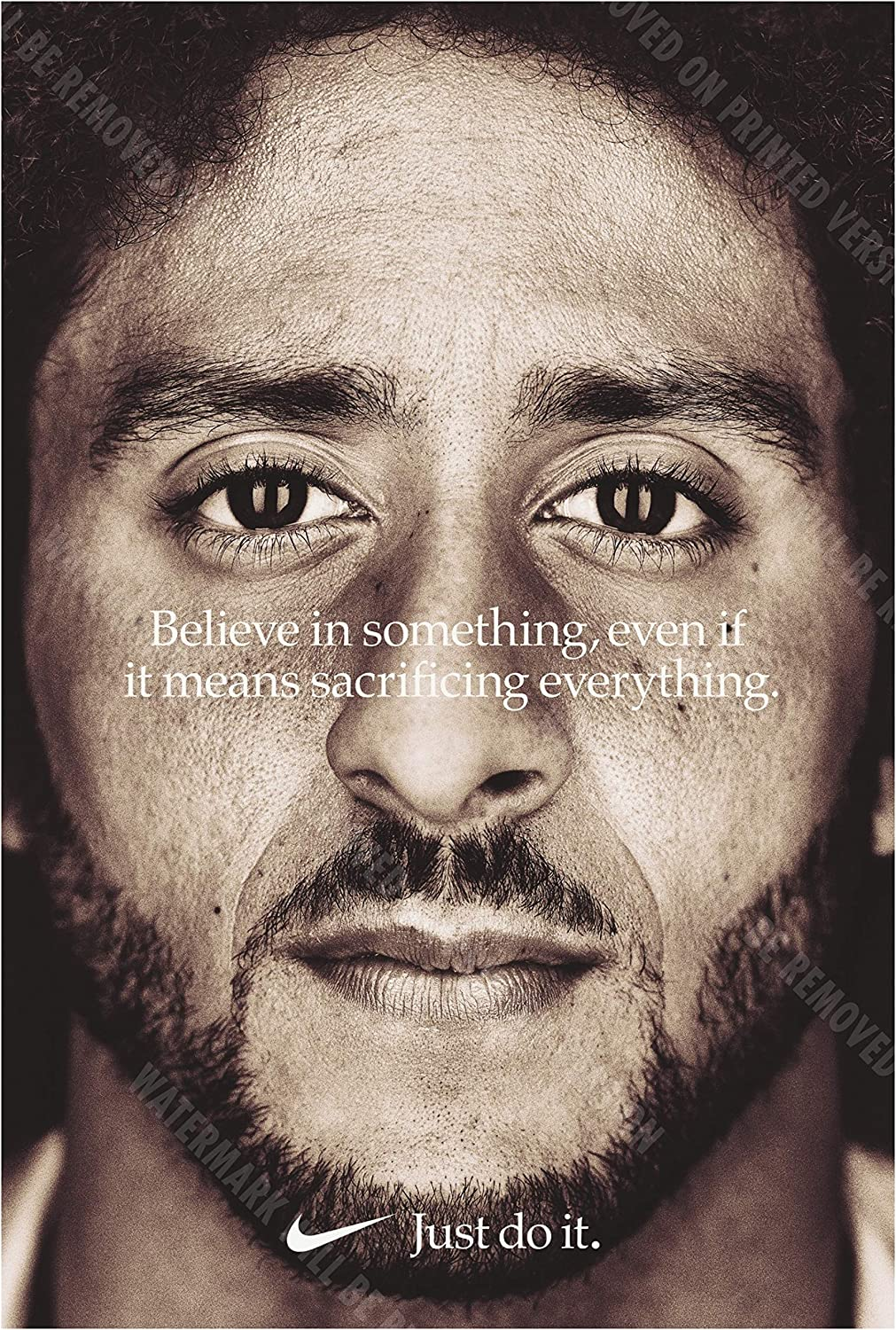 Amazon Com Posterwarehouse2017 Believe In Something Colin Kaepernick 13 X19 Replica Nike Ad Poster Sports Outdoors