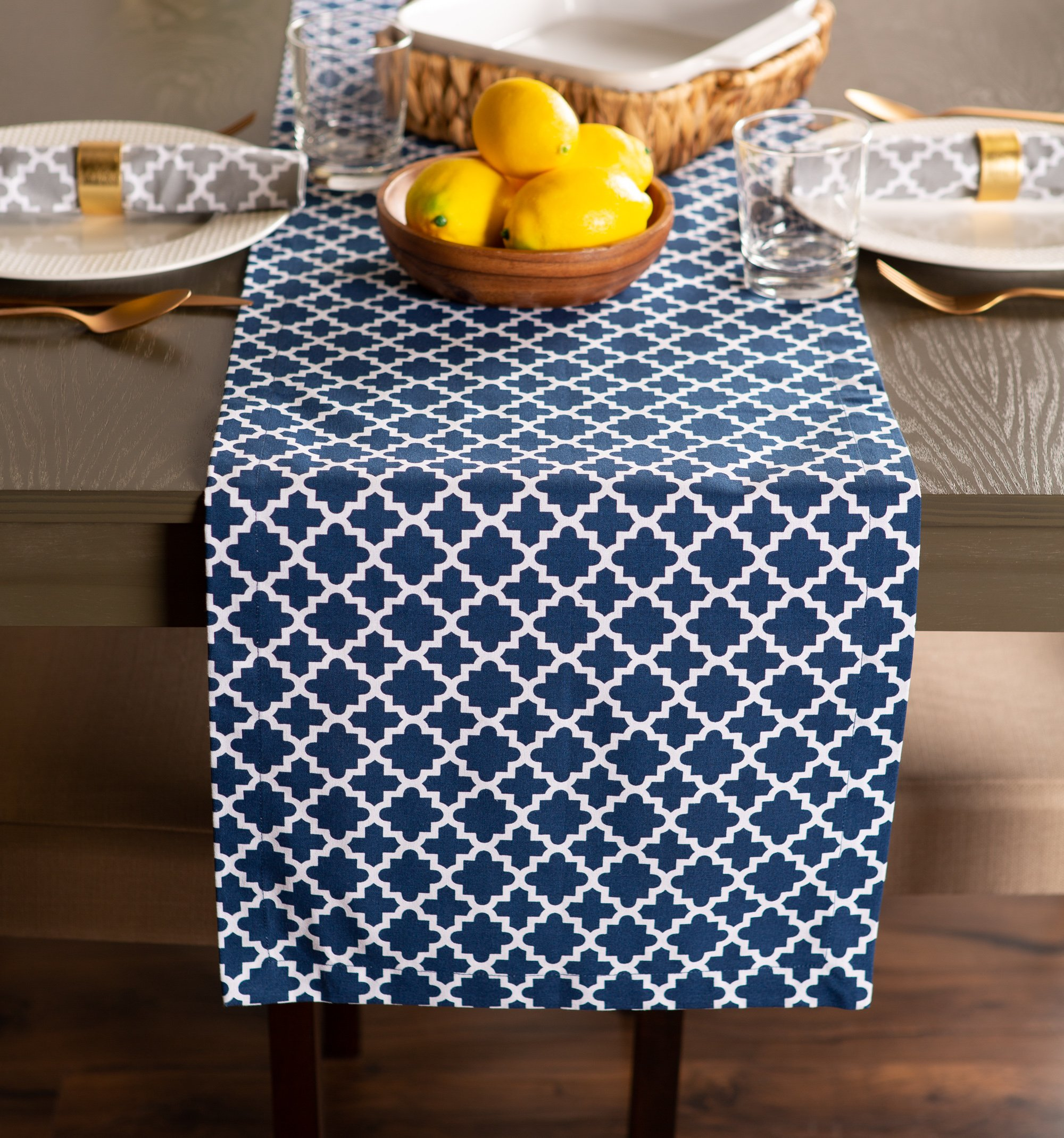 DII Lattice Cotton Table Runner for Dining Room, Foyer Table, Summer Parties and Everyday Use - 14x108'', Nautical Blue and White by DII (Image #8)