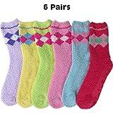 Bright Fuzzy Socks Ultra Soft Womens 6-pack Striped & Solid By DEBRA WEITZNER
