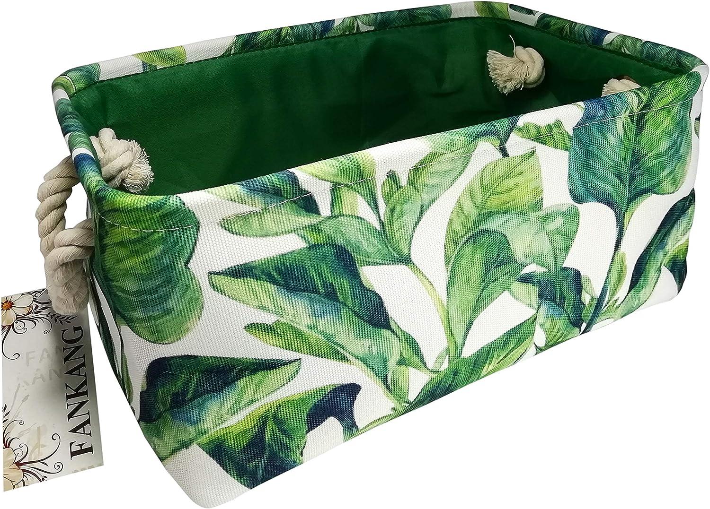 Rectangular Fabric Storage Bin Laundry Basket Nursery Storage Hamper,Book Bag,Gift Baskets (Green Plant)