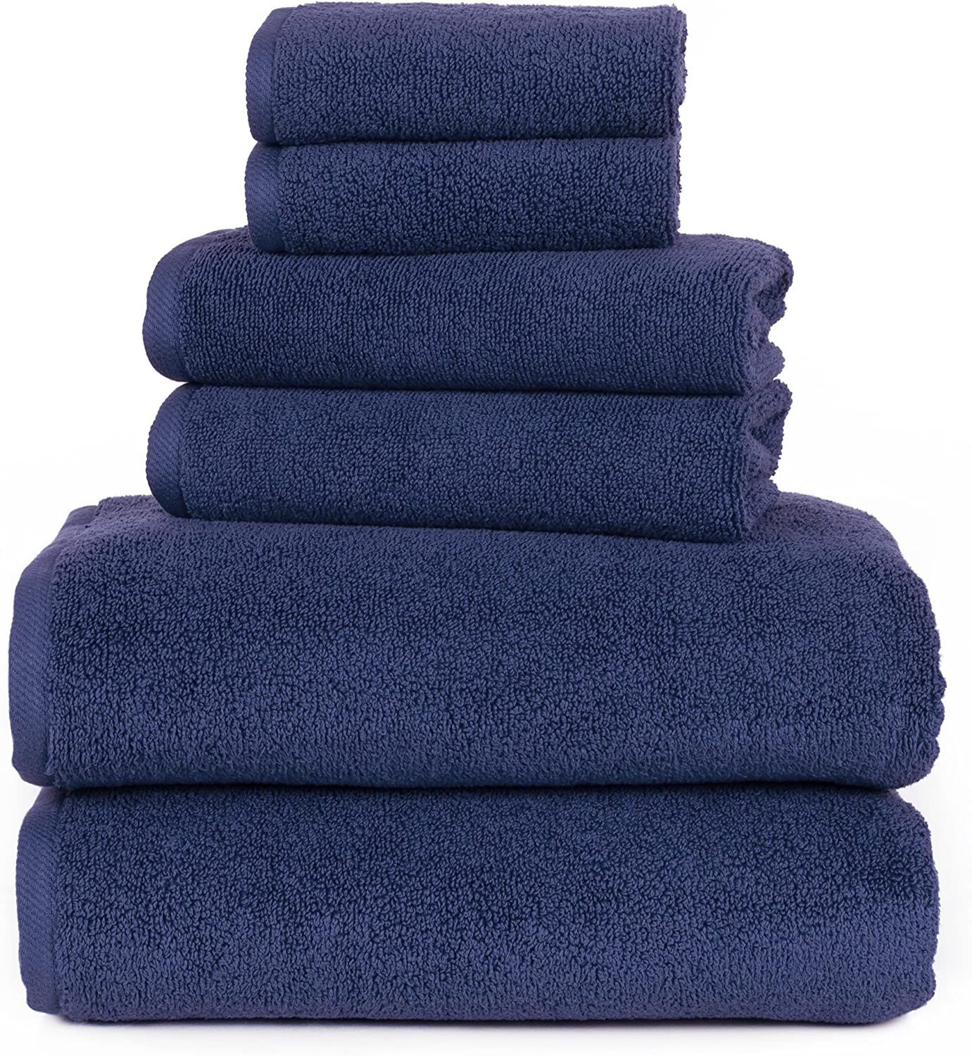 100 Percent Cotton Towel Set, Zero Twist, Soft and Absorbent 6 Piece Set With 2 Bath Towels, 2 Hand Towels and 2 Washcloths (Navy) By Lavish Home