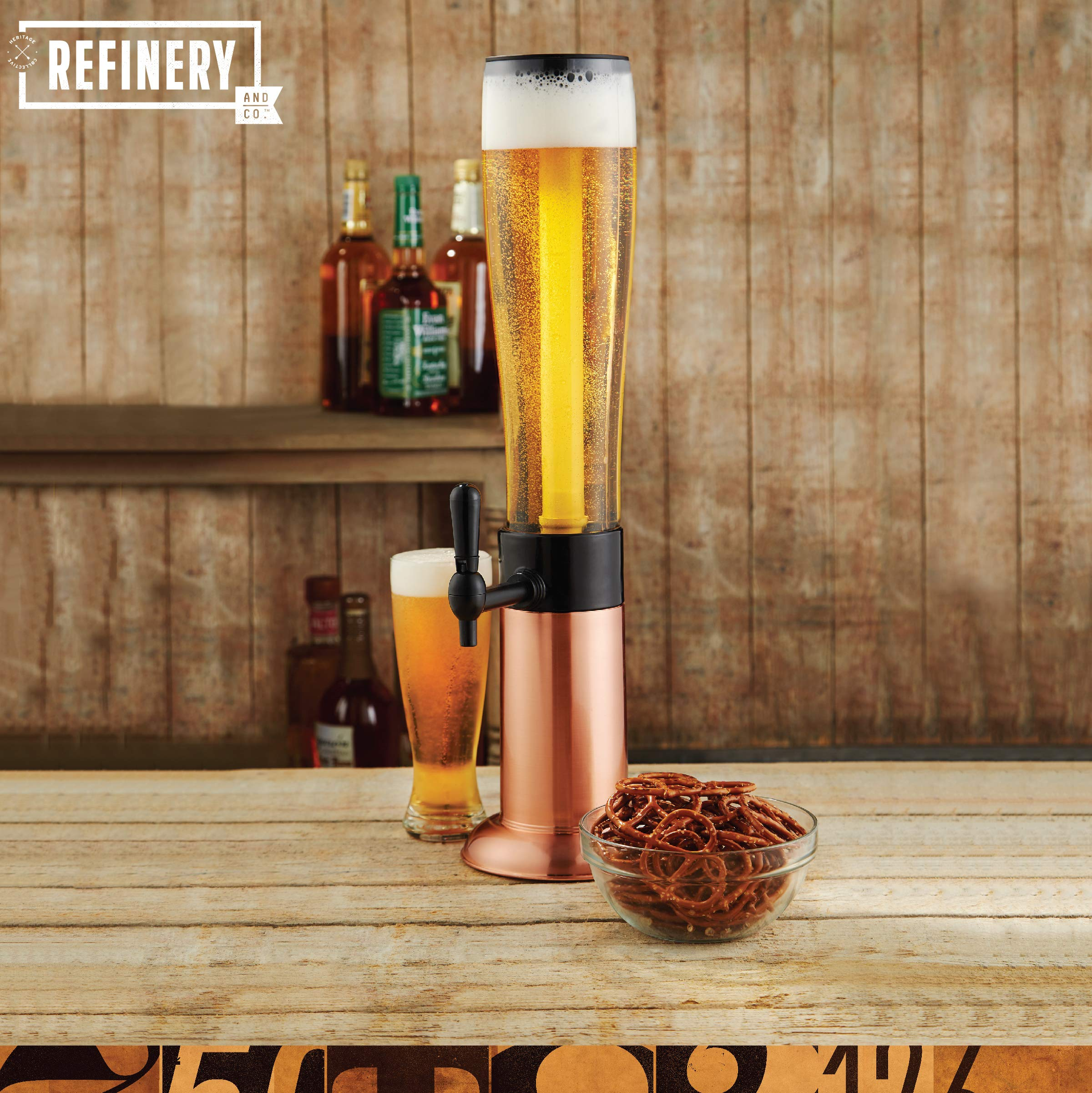 Refinery Beer Tower Drink Dispenser with Pro-Pour Tap and Freeze Tube to Keep Beverages Ice Cold, Perfect for Parties and Gameday, Home Bar Accessories, Simple to Clean, 2.75 Qt./2.6 L, Copper Finish by Refinery (Image #2)