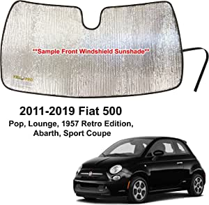 YelloPro Custom Fit Automotive Reflective Windshield Sunshade Accessories UV Reflector Protection for 2011 2012 2013 2014 2015 2016 2017 2018 2019 Fiat 500 500x Pop Lounge Retro Abarth Sport Coupe