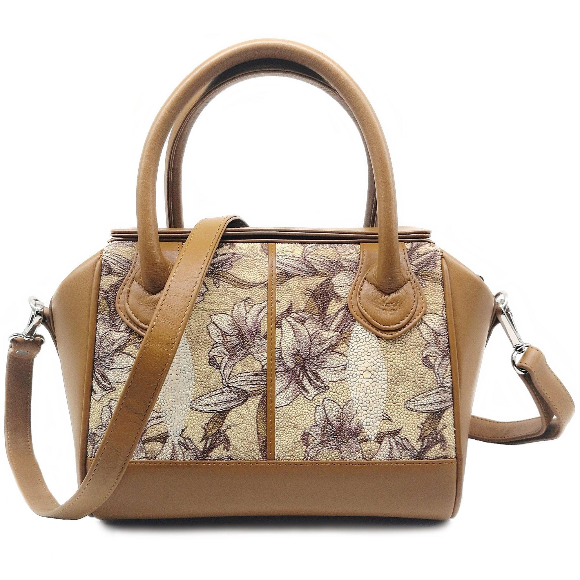 Stingray Genuine Leather Shoulder Bag Or Carry Handbag (Brown Orchid)