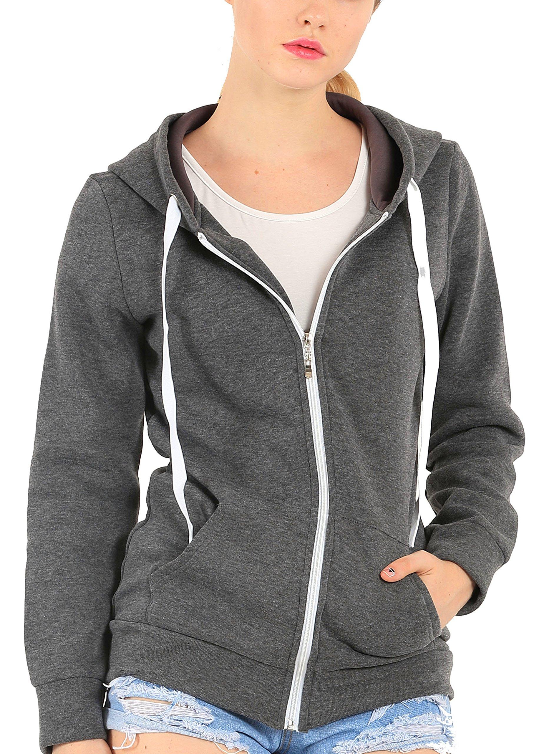 Easyhon Womens Soft Zip Up Fleece Hoodie Sweater