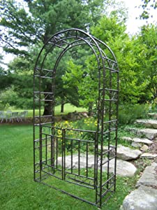 Oakland Living Arbor with Gate and Base, Hammer Tone Brown