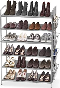 Simple Houseware 6-Tier Shoe Rack Storage Organizer 34-Pair w/Side Hanging Bag, Grey