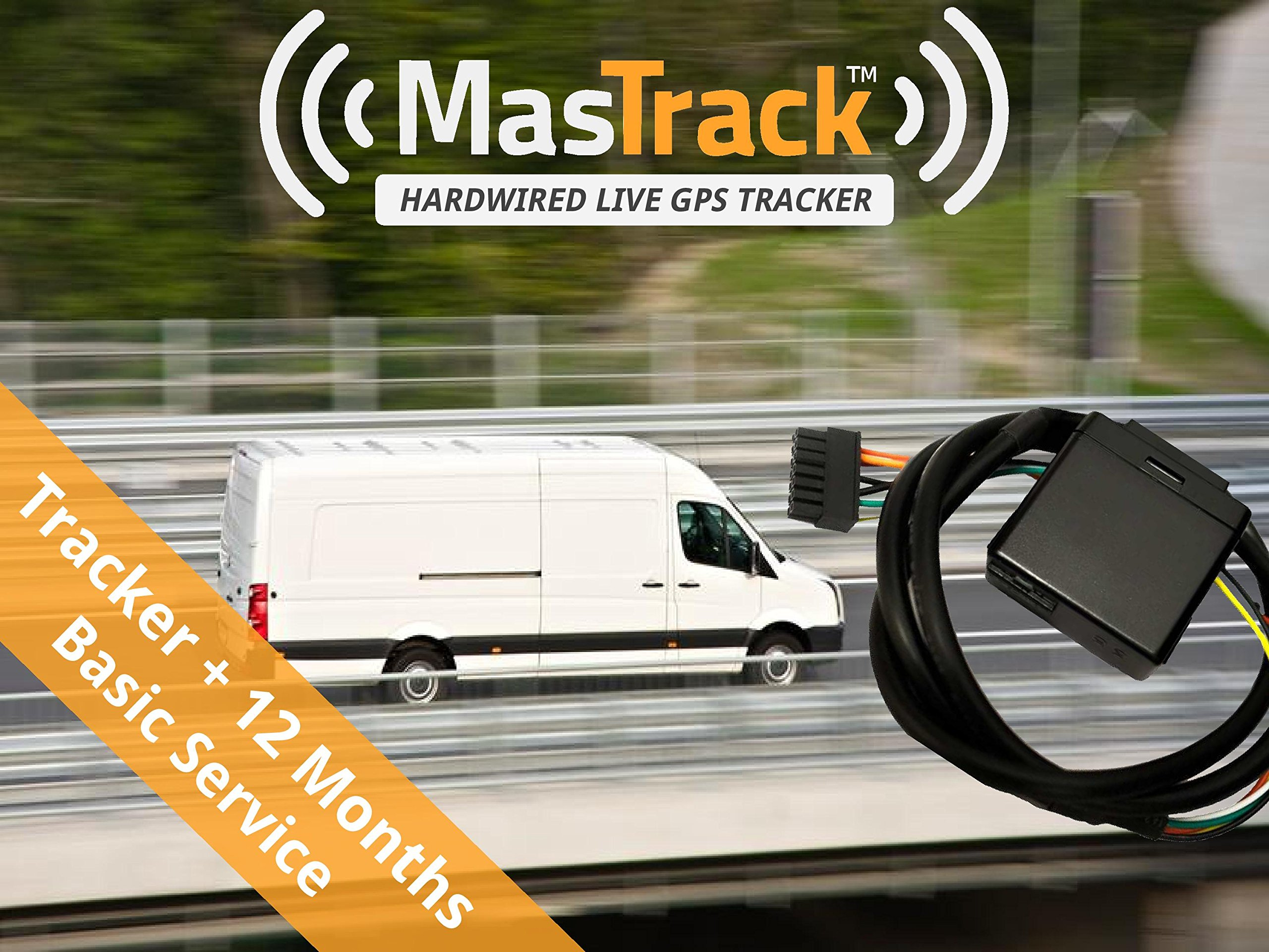 MasTrack Hardwired Real Time GPS Vehicle Tracker includes 12 Months of Basic Service with Theft Recovery