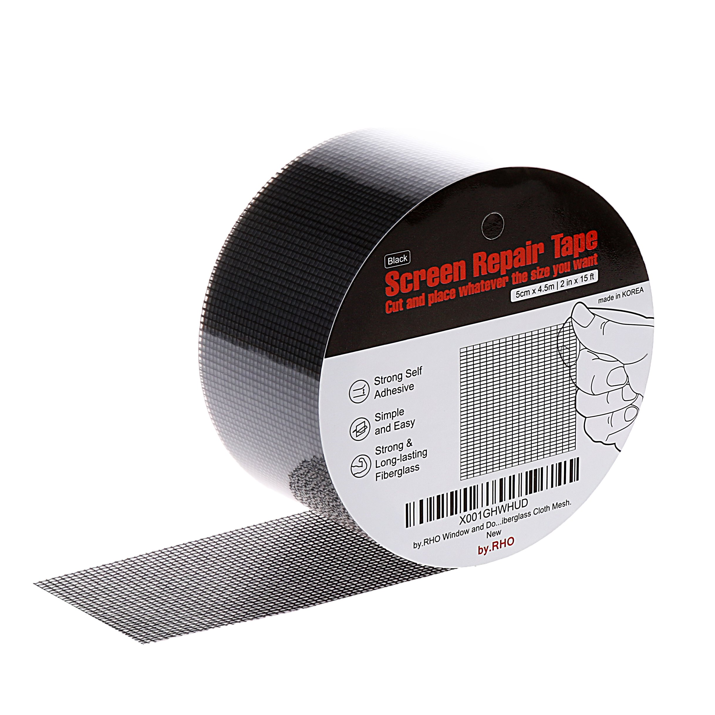 by.RHO Screen Repair kit. Black, 15FT. 3-Layer Strong Adhesive & Waterproof. Window and Door Screen. Ideal for Covering up Holes and Tears Instantly -Prevents Intruding Insects Screen Repair Tape.