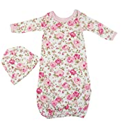PoshPeanut Baby Gown Set Layette - Girl's Super Soft Comfortable Floral Newborn Swaddle Combo with Beanie