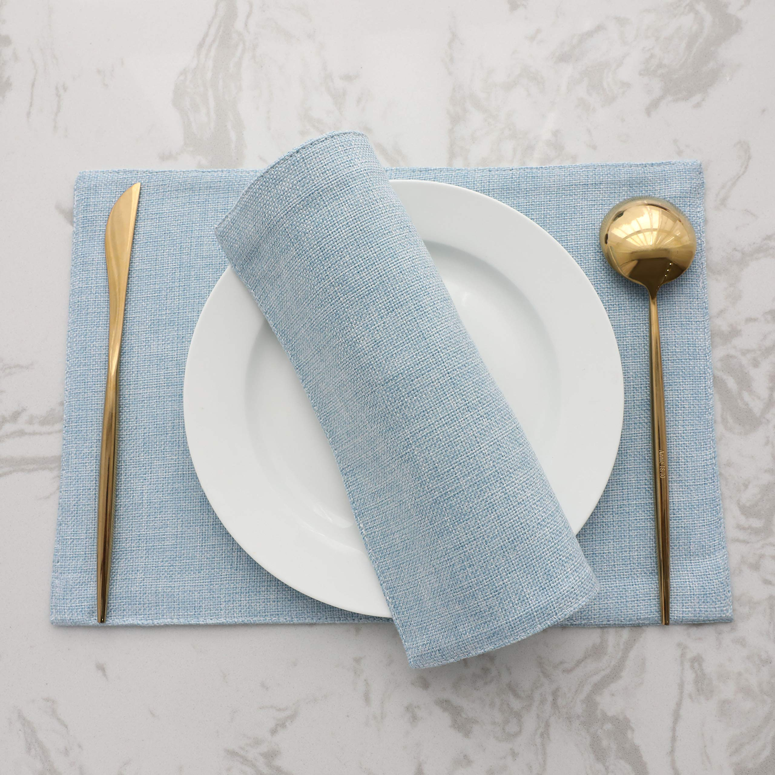 HOME BRILLIANT Placemats Set of 4 Heat Resistant Dining Table Place Mats Kitchen Table Mats, Blue