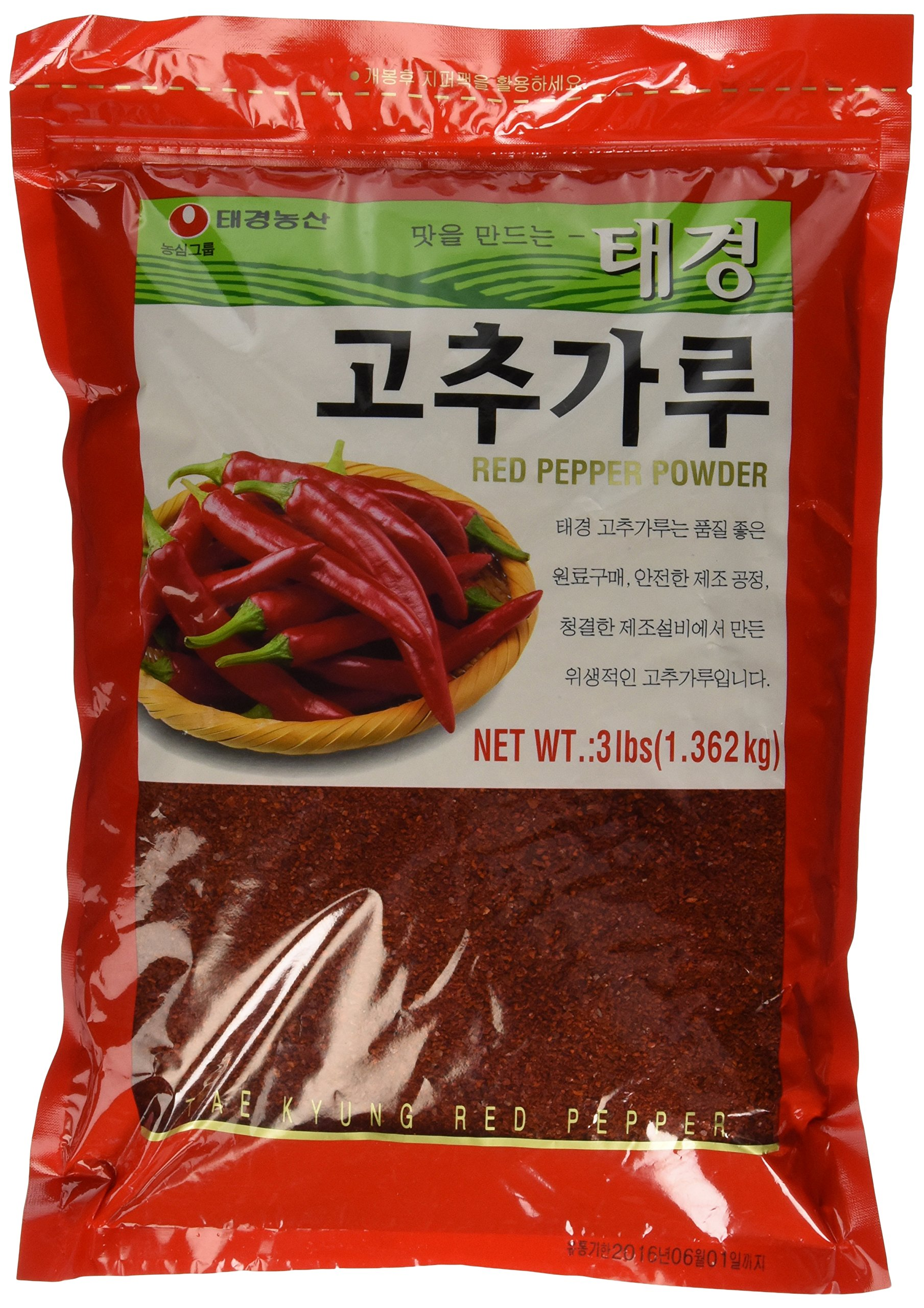 (3 LBs) Korean Red Chili Flakes, Gochugaru, Hot Pepper Type Powder By Tae-kyung