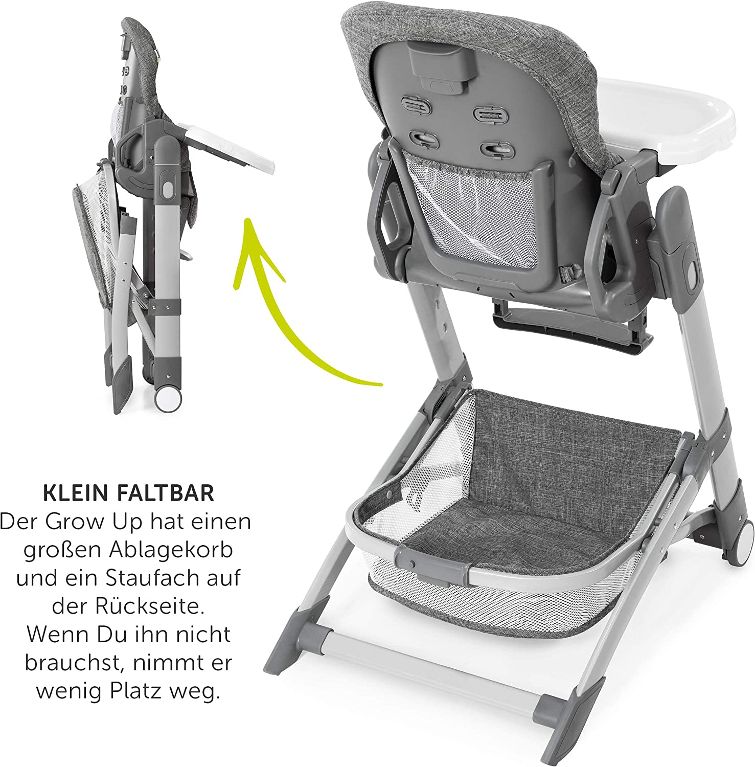 Convertible Baby Highchair from Birth Hauck Highchair Grow Up Reclining High Chair for Babies Grey Foldable Highchair with Tray and Wheels