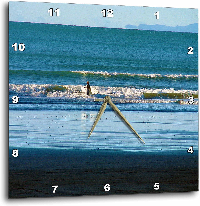 3dRose dpp_48397_3 サーファーと海へ歩く深青水とサーフボード-ウォールクロック、15 x 15インチ
