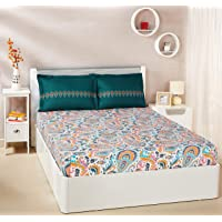Amazon Brand - Solimo Paisley Preen 144 TC 100% Cotton Double Bedsheet with 2 Pillow Covers