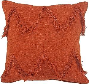 LR Home Solid Cinnamon Chevron Shag Throw Pillow, 20
