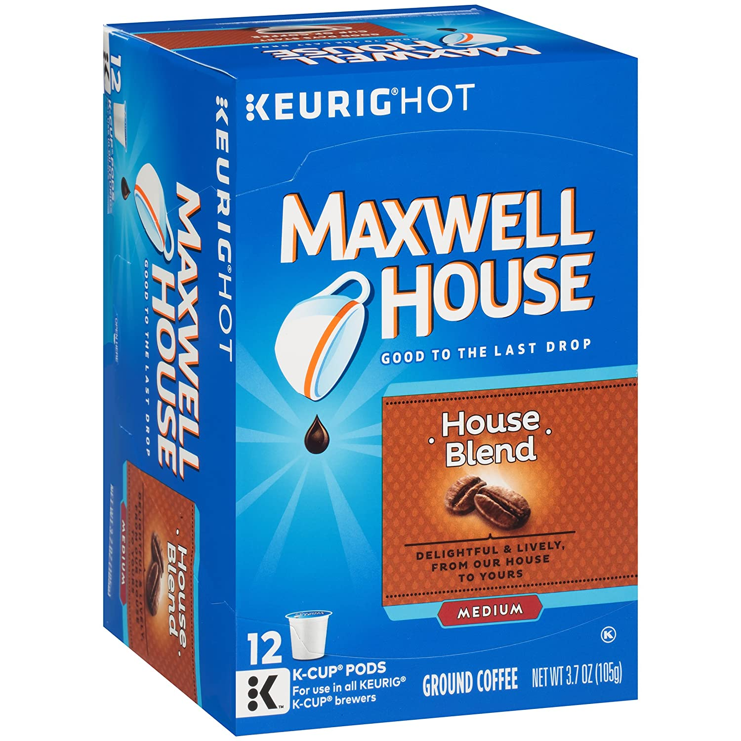 Maxwell House House Blend Keurig K Cup Coffee Pods (72 Count, 6 Boxes of 12)