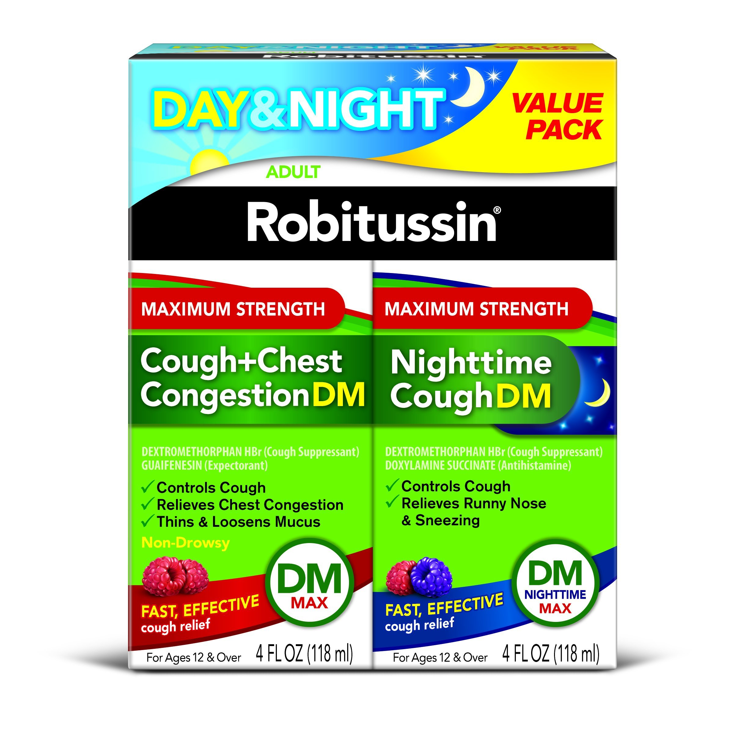 Robitussin Day & Night Max Strength Cough + Chest Congestion DM/Nighttime Cough DM Max, 4 Fl Oz, 2Count by Robitussin