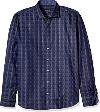 Bugatchi Mens Classic Fit Printed Cotton Spread Collar Sport Shirt