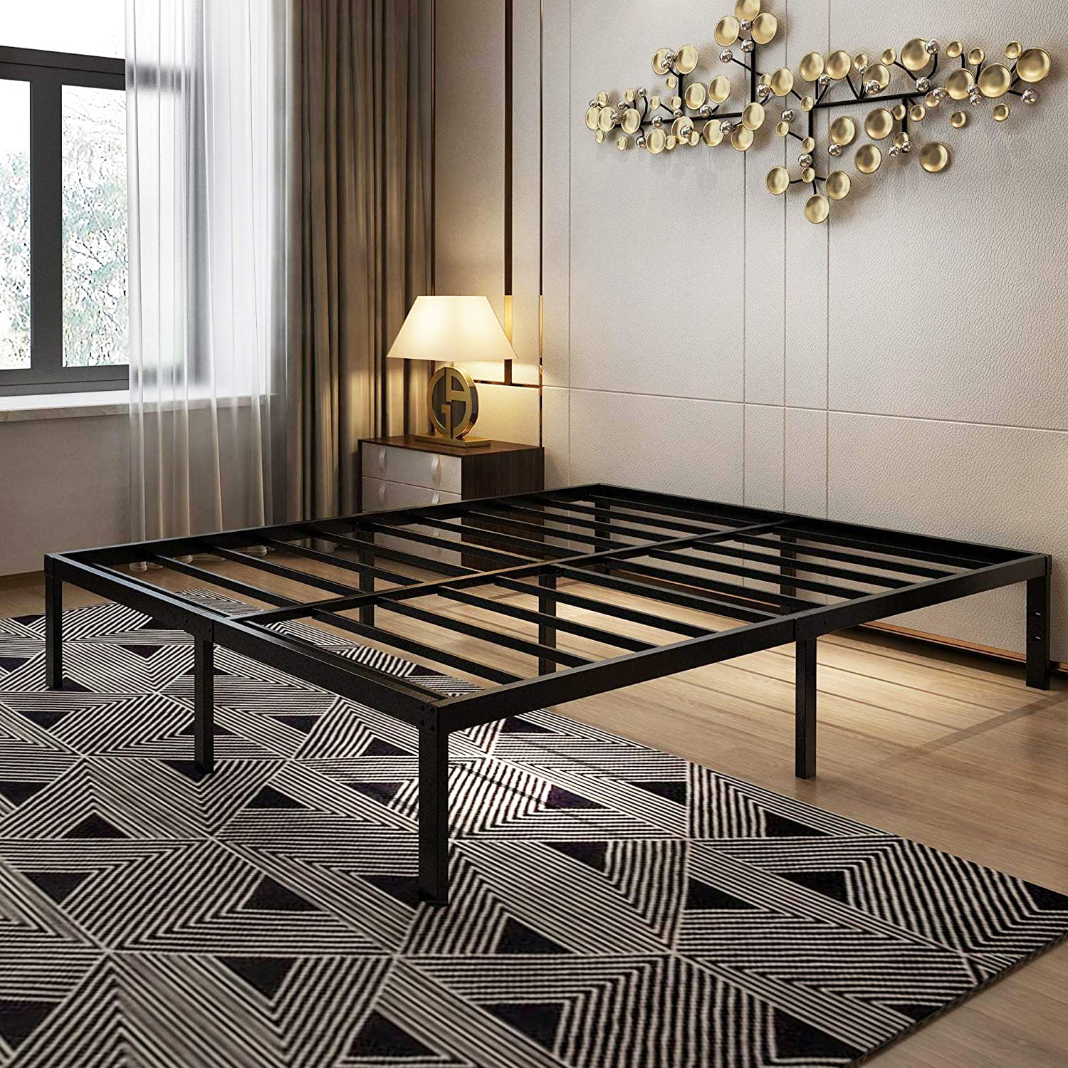 45MinST 14 Inch Platform Bed Frame/Easy Assembly Mattress Foundation / 3000lbs Heavy Duty Steel Slat/Noise Free/No Box Spring Needed, King