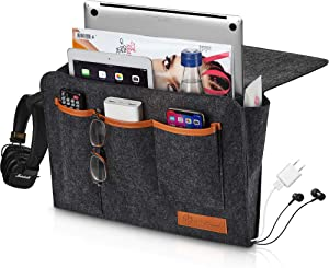 GoCoral Large Bedside Caddy Organizer - Heavy Duty Buckles for Bunk Bed Hold Up to 20 Lbs with Large Pockets - Double-Layer Thick Felt - Two Easy Ways of Installation - Perfect for College Dorm Room