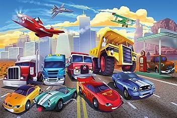 Poster für Kinderzimmer Autorennen Wandbild Dekoration Flugzeug Cars Abenteuer Feuerwehr Sportwagen Auto Cabrio Comic   Wandposter Fotoposter Wanddeko Bild Wandgestaltung by GREAT ART (140 x 100 cm)